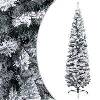 vidaXL Kunstkerstboom met sneeuwvlokken smal 210 cm PVC groen