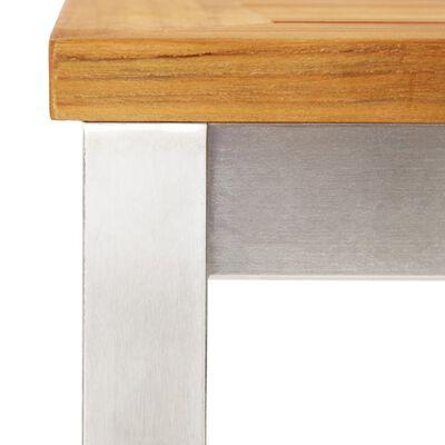 vidaXL Barstoelen 4 st massief teakhout en roestvrij staal