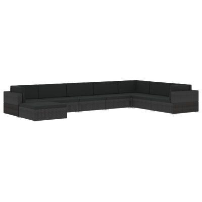 vidaXL Voetensteun 1 st met kussen poly rattan zwart, Zwart en wit