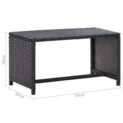 vidaXL Salontafel 70x40x38 cm poly rattan zwart