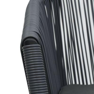 vidaXL 3-delige Bistroset met kussens PVC-rattan antraciet