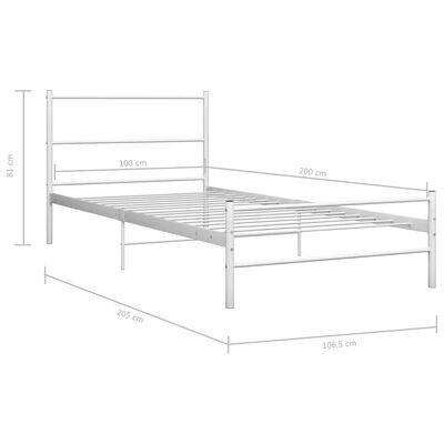 vidaXL Bedframe metaal wit 100x200 cm