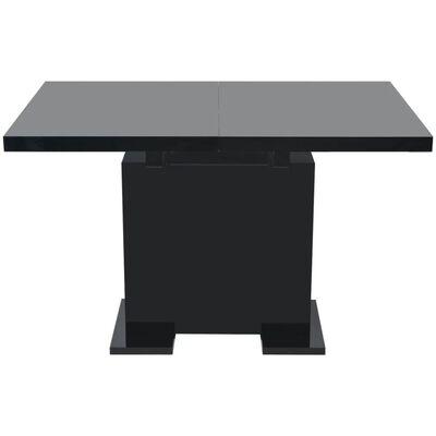 vidaXL Eettafel uitschuifbaar hoogglans zwart