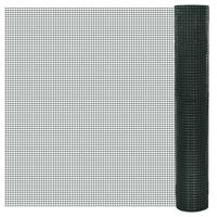 vidaXL Kippengaas 25x1 m gegalvaniseerd staal met PVC-coating groen