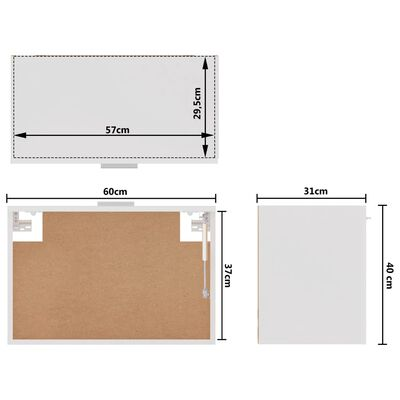 vidaXL Hangkast 60x31x40 cm spaanplaat hoogglans wit