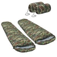 vidaXL Slaapzakken 2 st lichtgewicht 15 ℃ 850 g camouflage