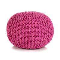 vidaXL Poef handgebreid 50x35 cm katoen roze