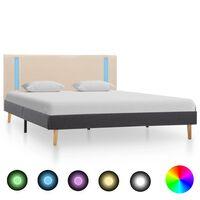 vidaXL Bedframe met LED stof crème en donkergrijs 140x200 cm