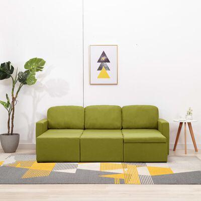 vidaXL Slaapbank driezits modulair stof groen