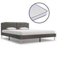 vidaXL Bed met traagschuim matras stof donkergrijs 160x200 cm