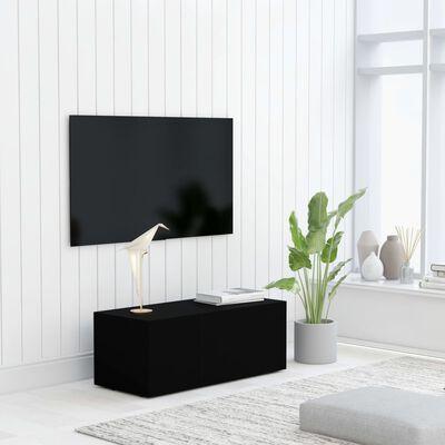 vidaXL Tv-meubel 80x34x30 cm spaanplaat zwart