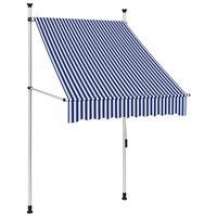 vidaXL Luifel handmatig uittrekbaar 100 cm blauw en witte strepen