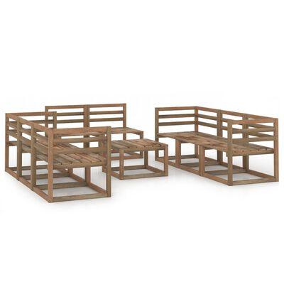 vidaXL 9-delige Loungeset bruin geïmpregneerd grenenhout