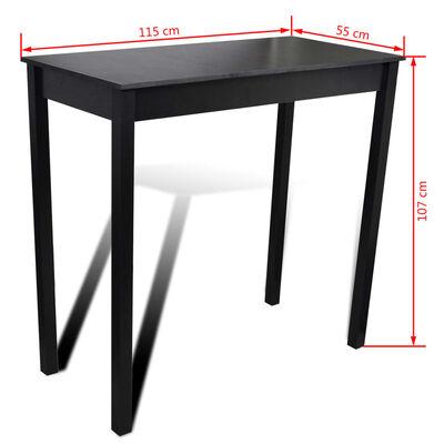 vidaXL Bartafel 115x55x107 cm MDF zwart