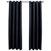 vidaXL Gordijn verduisterend met metalen ringen 2 st 140x245 cm zwart