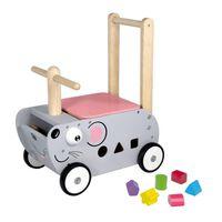 I'm Toy Loop- en duwwagen muis junior 45 cm grijs