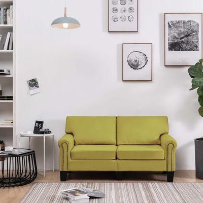 vidaXL Tweezitsbank stof groen