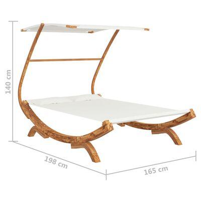 vidaXL Hangmat met luifel 165x198x140 cm massief vurenhout crèmekleur