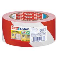 3x Tesa afzettape/markeertape rood/wit 5 cm x 66 mtr -