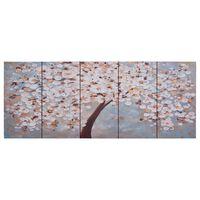 vidaXL Wandprintset bloeiende boom 200x80 cm canvas meerkleurig