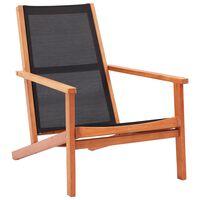 vidaXL Loungestoel massief eucalyptushout en textileen zwart