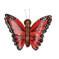 Houten magneet rode vlinder
