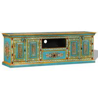 vidaXL Tv-meubel handgeschilderd massief mangohout blauw