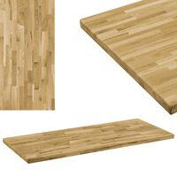 vidaXL Tafelblad rechthoekig 44 mm 100x60 cm massief eikenhout
