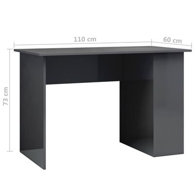 vidaXL Bureau 110x60x73 cm spaanplaat hoogglans grijs