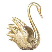 Decoratie zwaan 10*7*13 cm Goudkleurig | 6PR2486 | Clayre & Eef