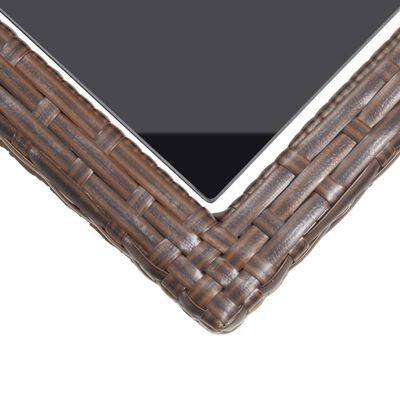 vidaXL Tuintafel 110x53x72 cm glas en poly rattan bruin