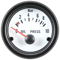 AutoStyle oliedrukmeter met sensor 52 mm 12 Volt wit/zwart