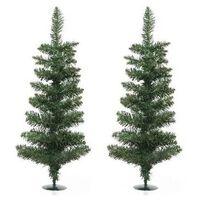 2x Groene Kunst Kerstbomen/kerstboompjes 60 Cm Met Voet -