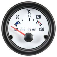 AutoStyle olietemperatuurmeter met sensor 52 mm 12 Volt wit/zwart