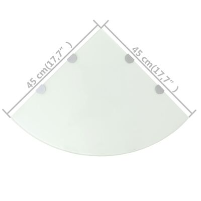 vidaXL Hoekschappen 2 st met chromen dragers 45x45 cm glas wit