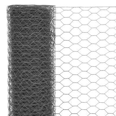 vidaXL Kippengaas 25x1 m staal met PVC coating grijs