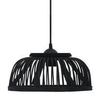 vidaXL Hanglamp halfrond 40 W E27 37x15,5 cm bamboe zwart