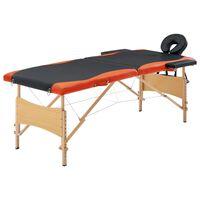 vidaXL Massagetafel inklapbaar 2 zones hout zwart en oranje