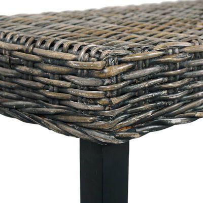 vidaXL Bankje 160 cm natuurlijk kubu rattan en massief mangohout zwart