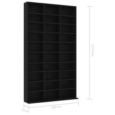 vidaXL Cd-kast 102x23x177,5 cm spaanplaat zwart