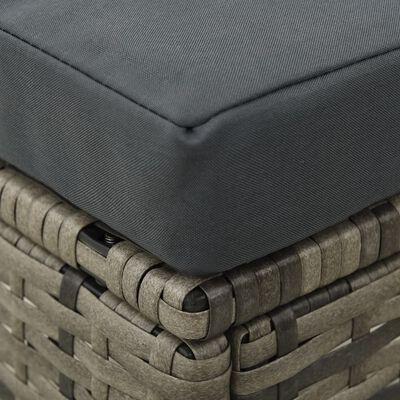 vidaXL Tuinbank met tafeltje en krukken tweezits poly rattan grijs