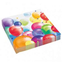 60x stuks feest servetten met ballonnen print 33 x 33 cm - kinder