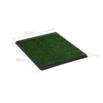 vidaXL Huisdierentoilet met bak en kunstgras 64x51x3 cm groen