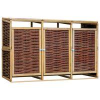 vidaXL Containerberging driedubbel grenenhout en wicker
