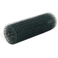 vidaXL Kippengaas 25x0,5 m staal met PVC coating groen