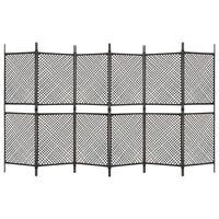 vidaXL Kamerscherm met 6 panelen 360x200 cm poly rattan bruin