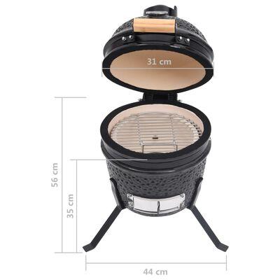 vidaXL Kamado barbecue 2-in-1 56 cm keramiek zwart