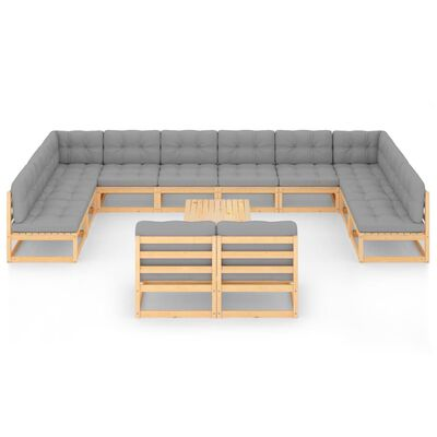 vidaXL 13-delige Loungeset met kussens massief grenenhout