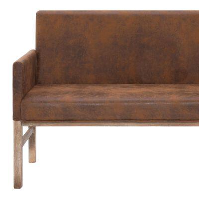vidaXL Bankje met armleuning 140 cm kunstsuède bruin
