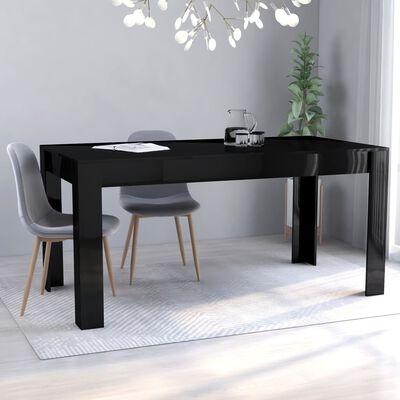 vidaXL Eettafel 160x80x76 cm spaanplaat hoogglans zwart